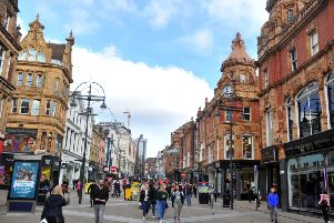 060419  Shoppers on Briggate in Leeds  . Stock .