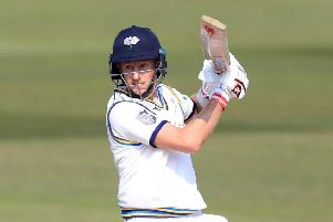 Cutting loose: Yorkshire's Joe Root on the way to his match-saving unbeaten century.