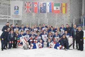 The GB squad and support staff display their silver medals in Dumfries. Picture: Karl Denham/IHUK.