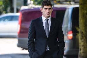 Footballer Ched Evans outside at Cardiff Crown Court. Picture: PA