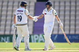 Gary Ballance is congratulated by Yorkshire team-mate Joe Root after reaching his half-century against Hampshire at Ageas Bowl. Ballance was 120no at the close (Picture: Mike Hewitt/Getty Images).