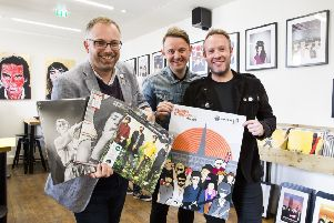 Mark Richardson, right, at last year's Record Store Day celebration.