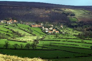 The  village of Castleton  high on the North York Moors  and connected by the Esk Valley railway line to Middlesborough and Whitby.