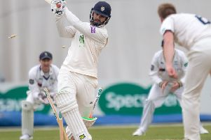 Hampshire's Rilee Rossouw bowled by Yorkshire's Matt Waite
