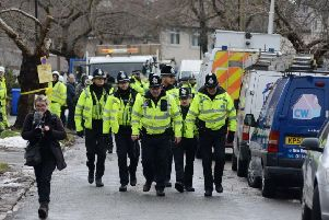 Dozens of police officers oversaw tree-felling operations in Sheffield in early 2018. Pic: Scott Merrylees