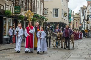 York Minster Palm Sunday procession with Palms, from The Mansion House, in St Helen's Square to York Minster.