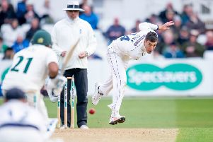 Yorkshire's Duanne Olivier in action against Nottinghamshire at Trent Bridge. Picture: Allan McKenzie/SWpix.com