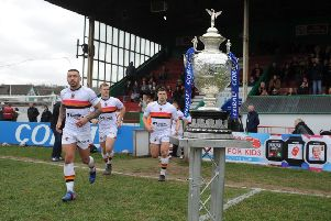 Bradford Bulls take to the field in this season's Challenge Cup.  Picture Tony Johnson.