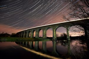 Star Trails over Arthington Viaduct in Whafedale.  Picture by Bruce Rollinson