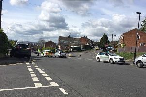 A police cordon in place on Sandstone Road in Wincobank (photo submitted).