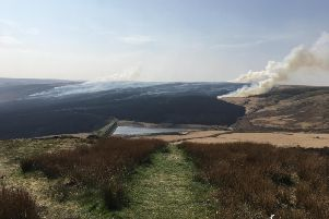 An estimated 1,000 hectares of moorland was ravaged by a fire on Marsden Moor during the Easter weekend. Picture courtesy of the National Trust.
