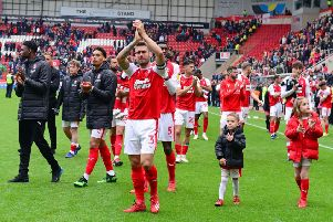 Rotherham United players walk a lap of the field to applaud their fans after the match with Middlesbrough (Picture: Marie Caley).