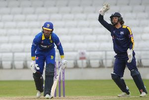 Yorkshire debutant Ben Birkhead appeals in vain for a stumping against Durham's Alex Lees, who left Headingley at the end of last summer (Picture: Dave Williams/cricketphotos.co.uk).