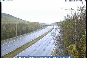 The M62 at junction 23 near Huddersfield at 11am (Photo: Highways England).