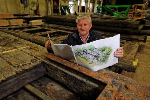 Mark Gregory, 2019 Welcome to Yorkshire RHS Chelsea Garden Designer, with his plans and genuine Yorkshire canal lock gates donated by Canal & River Trust which will be the main feature of Welcome to Yorkshires 2019 RHS Chelsea show garden. Picture by Tony Johnson.