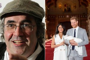Danny Baker has been sacked. Right: Prince Harry and Meghan Markle with newborn Archie