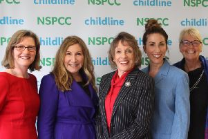 Pictured left to right are  Coun Lisa Mulherin, Kay Mellor OBE, Dames Esther Rantzen, Gaynor Faye and Liz Brash, NSPCC Divisional Trustee for Yorkshire, Humber & North East