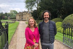 Skipton-based author Gina Lazenby and Broughton Hall Estate owner Roger Tempest in front of Broughton Hall Estate