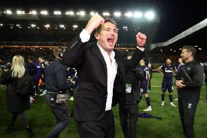 Derby County manager Frank Lampard celebrates victory.