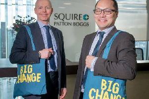 Squire Patton Boggs Leeds office managing partner John Alderton and David Chan, Real Estate partner and head of the firms Charity Committee, gear up for year of fundraising for Big Change Leeds. Photograph by Mark Bickerdike