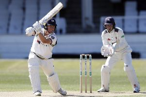 Yorkshire's Gary Ballance drives through the off-side on his way to making 159 in the second innings against Kent that helped the visitors set a target of 384. Kent closed on 34-3 (Picture: Max Flego).