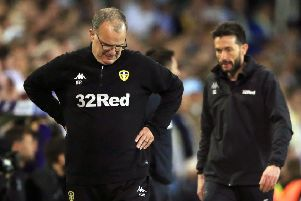 Downcast: Leeds United's head coach Marcelo Bielsa pictured on Wednesday as his side lost to Derby County (Picture: Nick Potts/PA Wire).