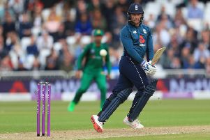 England's Jason Roy hits out.