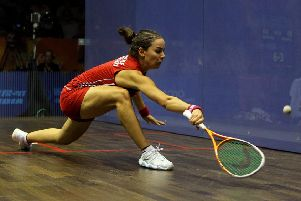 England's Jenny Duncalf in action against Malaysia's Nicol David in the final of the women's squash at the 2010 Commonwealth Games. Picture: PA