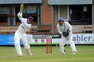 Top knock: Methley's 'Jordan Laban  on his way to 56, the top score in the tied game against Hanging Heaton. Picture: Steve Riding