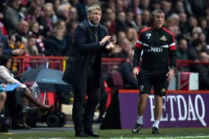 Doncaster Rovers manager Grant McCann: During the League One play-off, second leg match at The Valley.