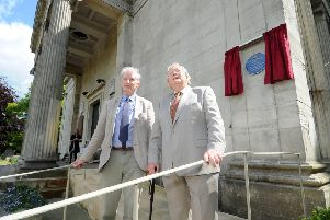 Dr Richard Keesing, chair of York Cemetary Trust and Dr Peter Addyman, President ofr York Civic Trust unveil a  blue plaque unveiling by York Civic Trust in honour of James Pigott Pritchett (1789-1868).