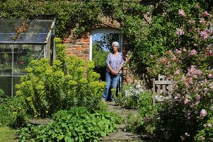 Stillingfleet Lodge Gardens & Nurseries. May 16th 2019. Over the last 40 years Vanessa Cook has created an award-winning wildlife garden in 2.5 acres behind her home which she opens to the public. She gets visits from experts wanting to see the huge amount of insect life it attracts. Pictured is Vanessa in her garden. Picture: Chris Etchells