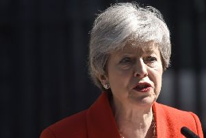 Mrs May during yesterday's emotional announcement. (Photo by Peter Summers/Getty Images)