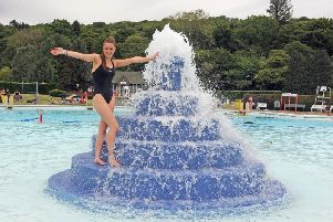 Charlotte Gibbs on the fountain at Ilkley Lido on the opening weekend. PIC: Tony Johnson