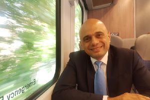 Home Secretary Sajid Javid speaks to The Yorkshire Post on a train from Manchester to Leeds