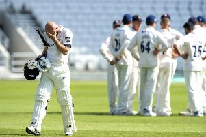 Yorkshire's Adam Lyth is dismayed after getting out for 95 leaving Essex bowler Jamie Porter to celebrate after Will Buttleman took the catch (Picture: Bruce Rollinson).