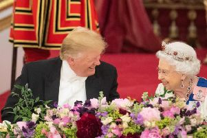 President Donald Trump and the Queen at this week's Buckingham Palace state banquet.