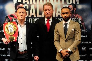 Ready for battle: Josh Warrington, left, and Kid Galahad, right, with promoter Frank Warren. Picture: Simon Hulme