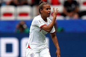 England's Nikita Parris: Hails the 'four musketeers' after scoring her side's penalty.