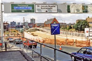 c1991-1992, view west down the slip road off York Road A64.