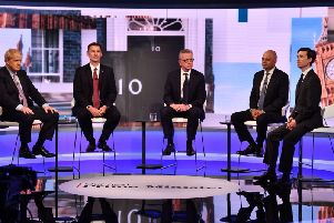 Boris Johnson, Jeremy Hunt, Michael Gove, Sajid Javid and Rory Stewart during the BBC TV debate featuring the contestants for the leadership of the Conservative Party (Jeff Overs / BBC).