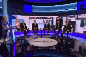 The Tory leadership candidates take part in a BBC debate. Credit: PA