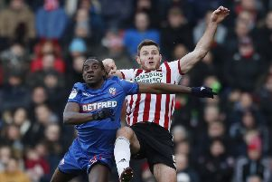 Clayton Donaldson, in action for Bolton Wanderagainst former Sheffield United team-mate, Jack O'Connell in February this year. Picture: Simon Bellis/Sportimage