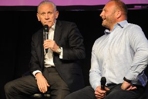Former Leeds United manager Peter Reid at the People's Vote event in Leeds. Also pictured is former Leeds Rhinos player Gareth Carvell.