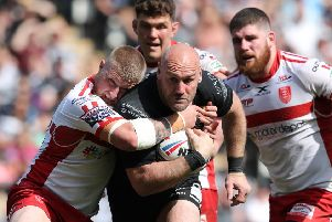 KEEP GOING: Gareth Ellis in action against Hull KR in April this year. Picture by Ash Allen/SWpix.com