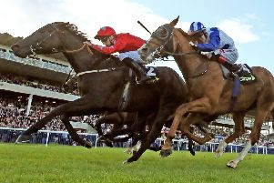 Danny Tudhope and Suedois (left), pictured winning the Boomerang Stakes at Leopardstown in September 2017, line up at Newmarket on Saturday.