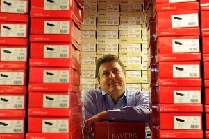 Stuart Paver of Pavers Shoes in their warehouse at Upper Poppleton in York.