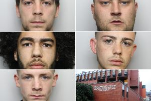 From left to right: Kyle Sykes, Christopher Davies, Deontay Crossfield, Harrisons Coates, and Michael Moorhouse were jailed at Leeds Crown Court. Photos provided by West Yorkshire Police.