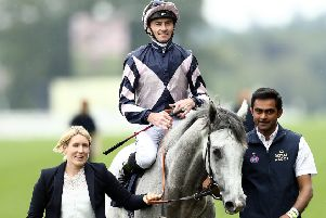 Danny Tudhope celebrates his Queen Anne Stakes win on Lord Glitters.