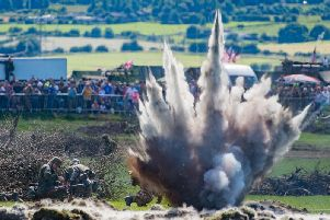 A battle re-enactment with pyrotechnic displays at the event in 2017